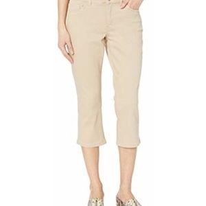 Chaps Size 16 Slimming Fit Mid Rise Beige Capri